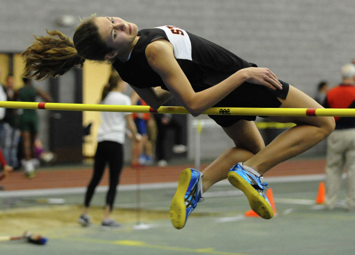 Stamford's Jessica Stietzel competes in the high jump event during FCIAC Indoor Track and Field Championships in New Haven, Conn. on Thursday January 18, 2013.