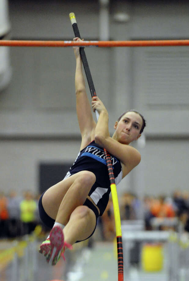 Wilton's Meg Hemmerle competes in the pole vault event during FCIAC Indoor Track and Field Championships in New Haven, Conn. on Thursday January 18, 2013. Photo: Christian Abraham / Connecticut Post