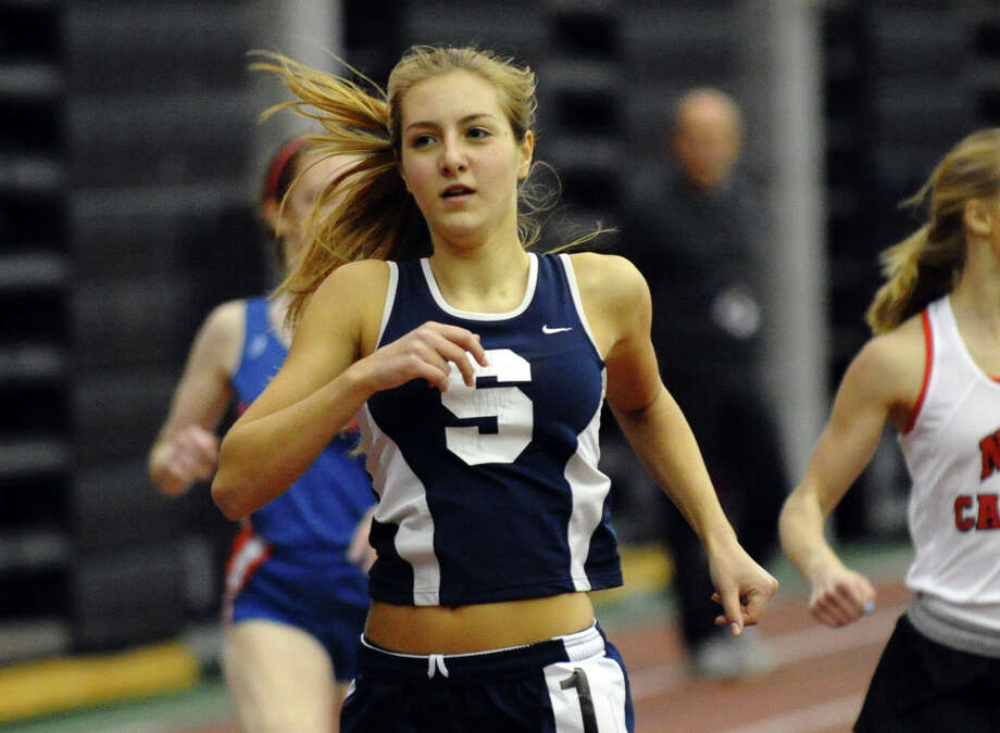 Staples Natalie Pulvino competes in the 600 meter event during FCIAC Indoor Track and Field Championships in New Haven, Conn. on Thursday January 18, 2013. Photo: Christian Abraham / Connecticut Post