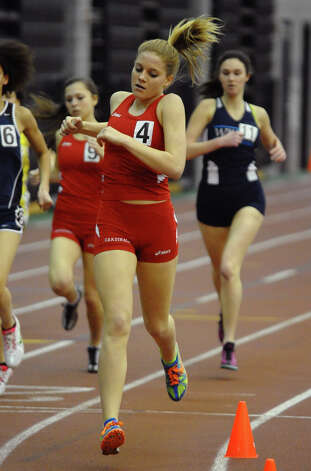 Greenwich's Jenny Goggin competes in the 1000 meter event during FCIAC Indoor Track and Field Championships in New Haven, Conn. on Thursday January 18, 2013. Photo: Christian Abraham / Connecticut Post