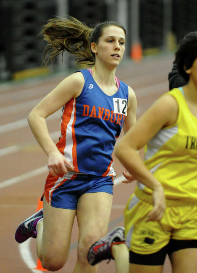 Danbury's Sarah Woxholdt competes in the 1000 meter event during FCIAC Indoor Track and Field Championships in New Haven, Conn. on Thursday January 18, 2013. Photo: Christian Abraham / Connecticut Post