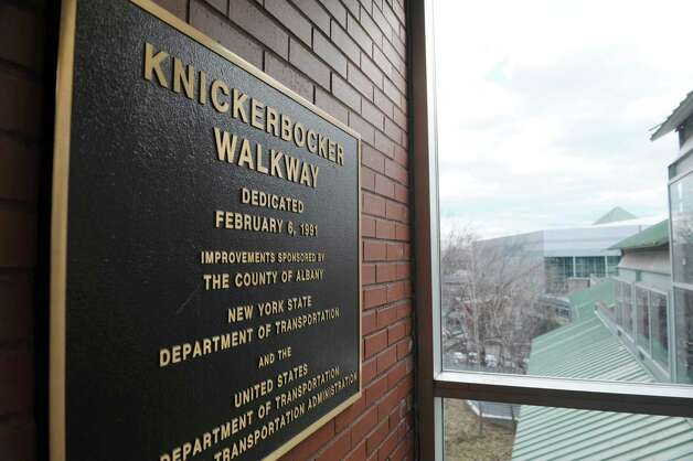 A plaque is seen on the wall inside the Knickerbocker Walkway on Thursday, Jan. 31, 2013 in Albany, NY.   The walkway connects the Times Union Center to the Empire State Plaza.  (Paul Buckowski / Times Union) Photo: Paul Buckowski  / 00020999A