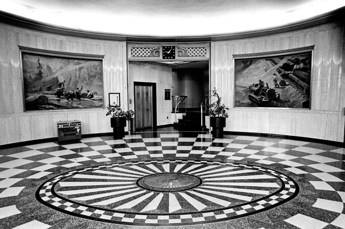 Here's the lobby of the old P-I building in 1981.