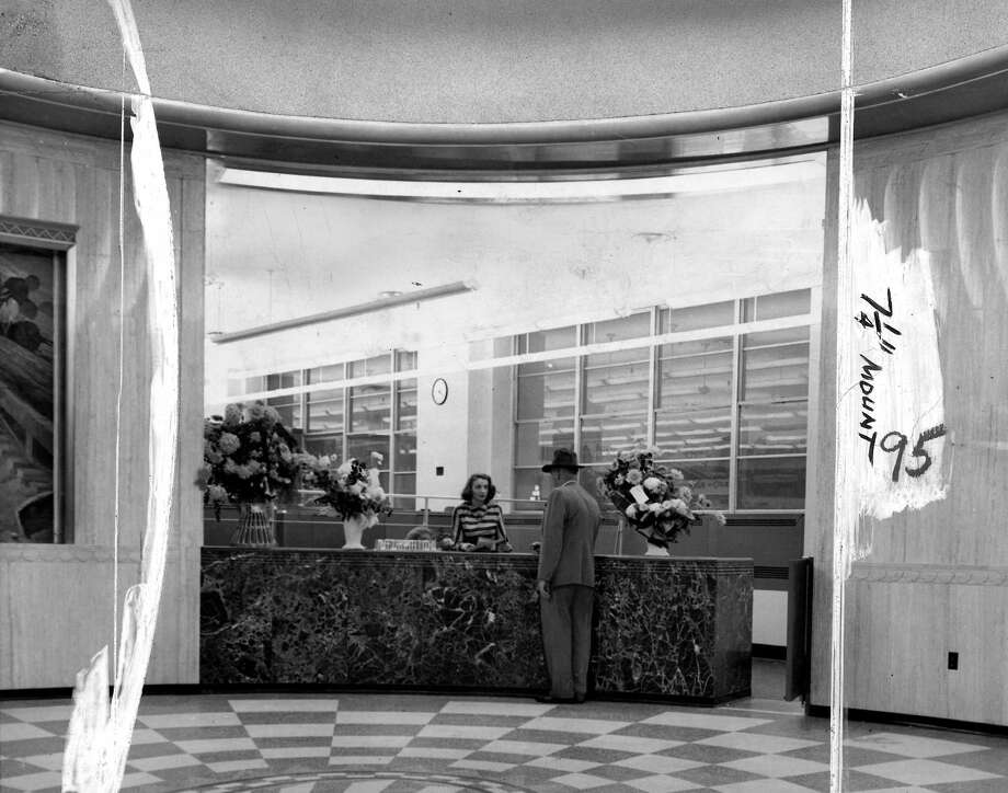 Here's another image of the old P-I lobby from Jan. 2, 1949. Marks were made by a P-I photo editor. Photo: Seattlepi.com