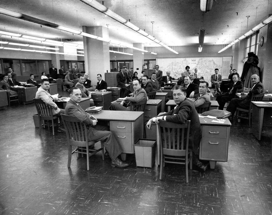 This picture shows the P-I circulation department in the old headquarters at Sixth Avenue and Wall Street. The image does not have a specific date, though it was likely taken in early 1949. The image has been published online, but was not previously published in the newspaper. Photo: Seattlepi.com