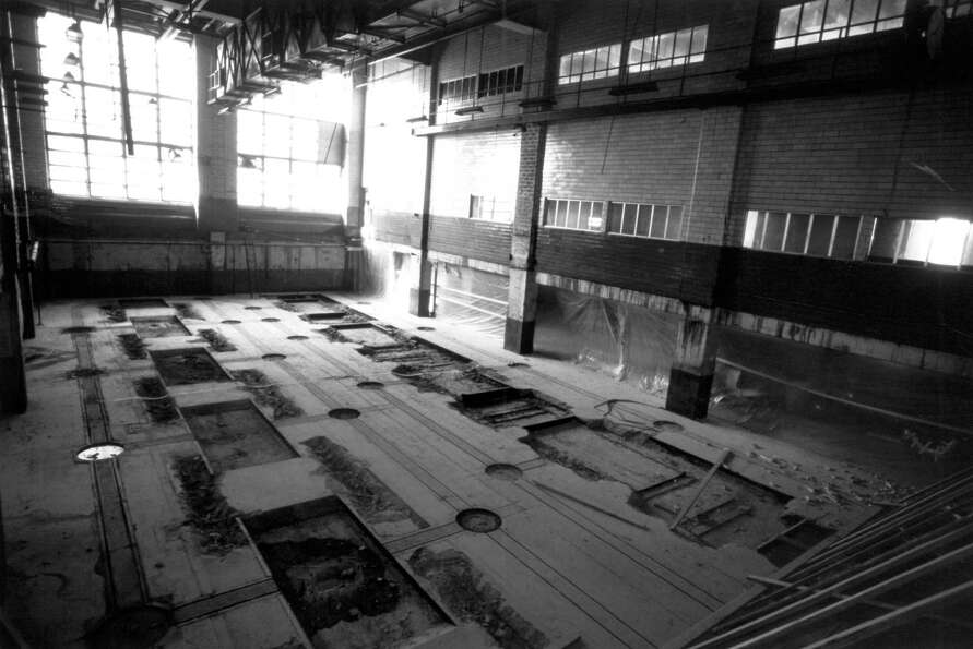 This is what the Sixth and Wall building looked like after the presses were removed in the 1980s. Th