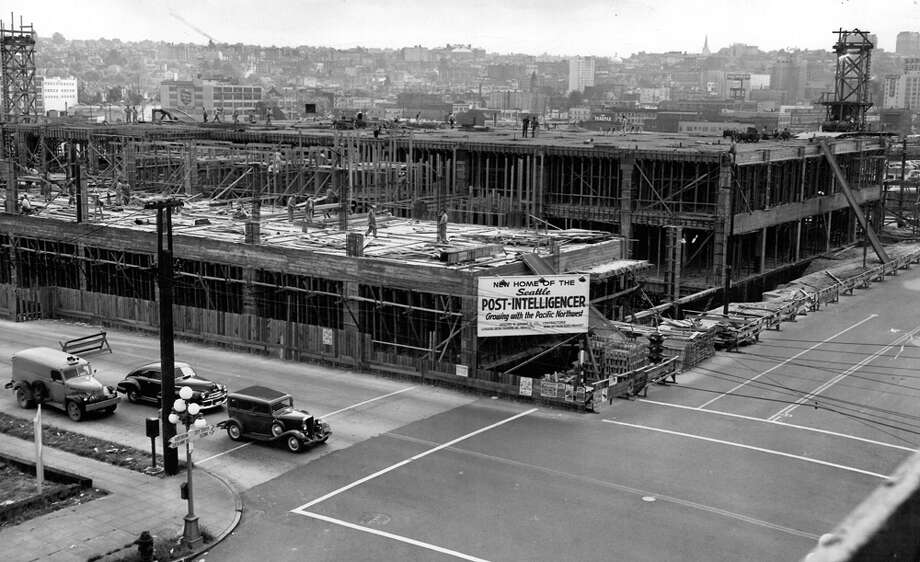 This picture from Aug. 4, 1947, shows construction of the Post-Intelligencer building, which is now home to City University of Seattle after several building remodels. Photo: Seattlepi.com