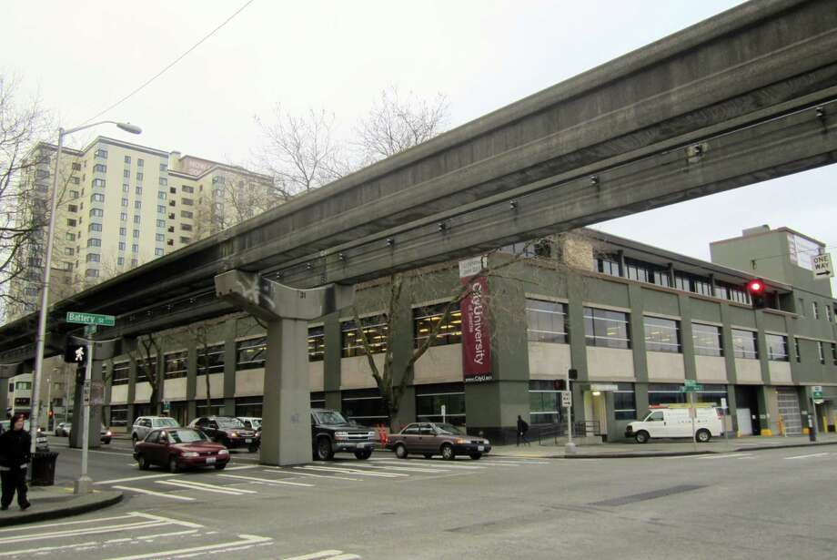 Question: How are drivers supposed to change lanes on Fifth Avenue, under the monorail? Photo: Casey McNerthney/seattlepi.com