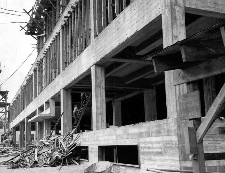 This image from Aug. 29, 1947, shows early construction of the former P-I headquarters at the corner