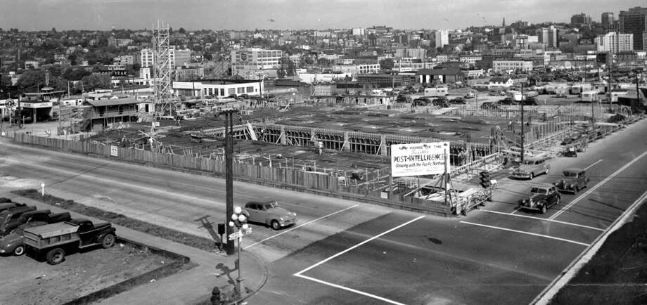 Here's one of the earliest construction picture of the Sixth and Wall building taken in May 1947. It was shot near Fifth Avenue and Battery Street. At the extreme right is the Vance Hotel and the White building is in the distance. Note there's also no freeway. Photo: Seattlepi.com