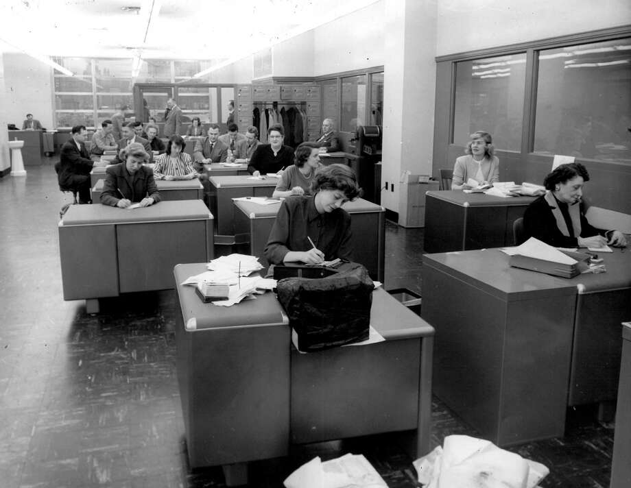 This picture of P-I workers in the Sixth and Wall building was taken in March 1949. Photo: Seattlepi.com