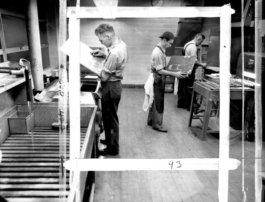 This was the acid room where sensitive metal newspaper plates were prepared and glass pipes were used for drainage. The picture was taken Jan. 2, 1949, and marks were made by a P-I photo editor. Photo: Seattlepi.com