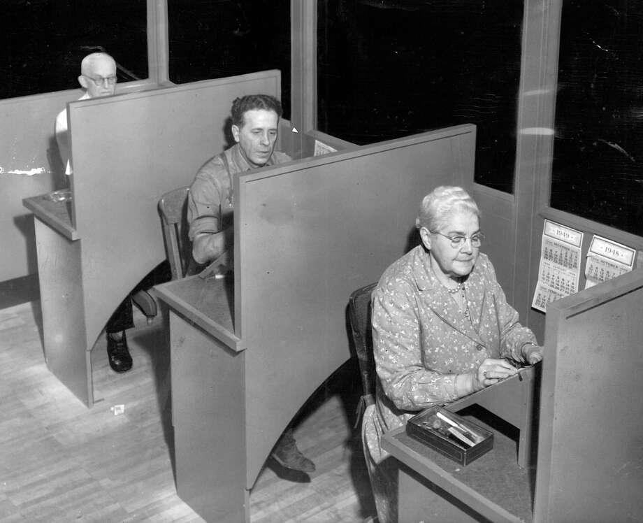 Here's a previously unpublished photo of some workers in the old Seattle P-I building in Jan. 1949. Photo: Seattlepi.com