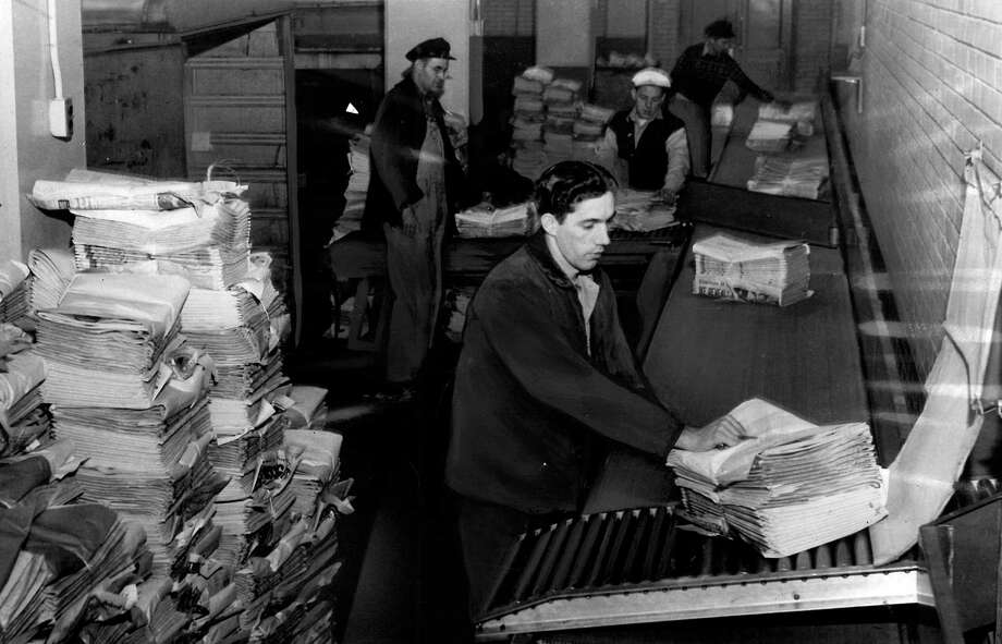 This is the loading platform at the former P-I headquarters on Jan. 2, 1949. At peak performance, the presses at Sixth Avenue and Wall Street were said to be able to print 50,000 newspapers in an hour. Photo: Seattlepi.com
