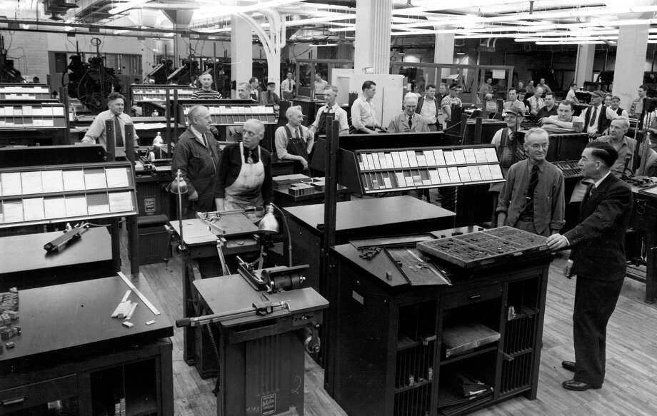 This is the composing room at the former P-I headquarters, photographed Jan. 2, 1949. Photo: Seattlepi.com