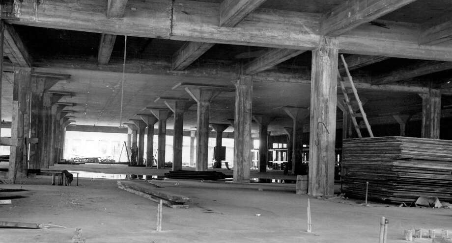 This picture, taken Oct. 4, 1947, shows what's now the parking garage for City University of Seattle. The building at Sixth Avenue and Wall Street was built as the home for the Post-Intelligencer and its enormous rotating globe. Photo: Seattlepi.com