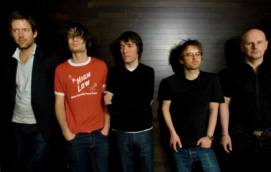Radiohead band members, from left, Ed O'Brien, guitar, Jonny Greenwood, lead guitar, Colin Greenwood, bass guitar, Thom Yorke, lead vocalist, and drummer Phil Selwayan pose in their hotel room, Tuesday, May 13, 2008, in Washington. (AP Photo/J. Scott Applewhite) Photo: J. Scott Applewhite / ASSOCIATED PRESS / ONLINE_YES