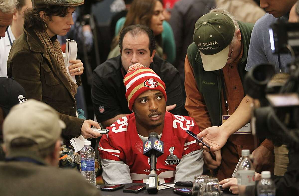 49ers' Chris Culliver, talks with reporters during the daily press conference on Thursday Jan. 31, 2013, in New Orleans, La. The San Francisco 49ers and the Baltimore Ravens prepare for this Sunday's NFL Superbowl match up.