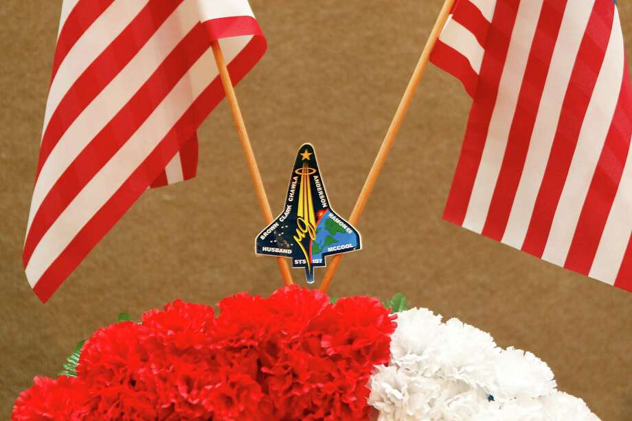 Each of the Columbia astronauts was remembered with a wreath at a ceremony Thursday in Hemphill. Photo: Johnny Hanson, Staff / © 2013  Houston Chronicle