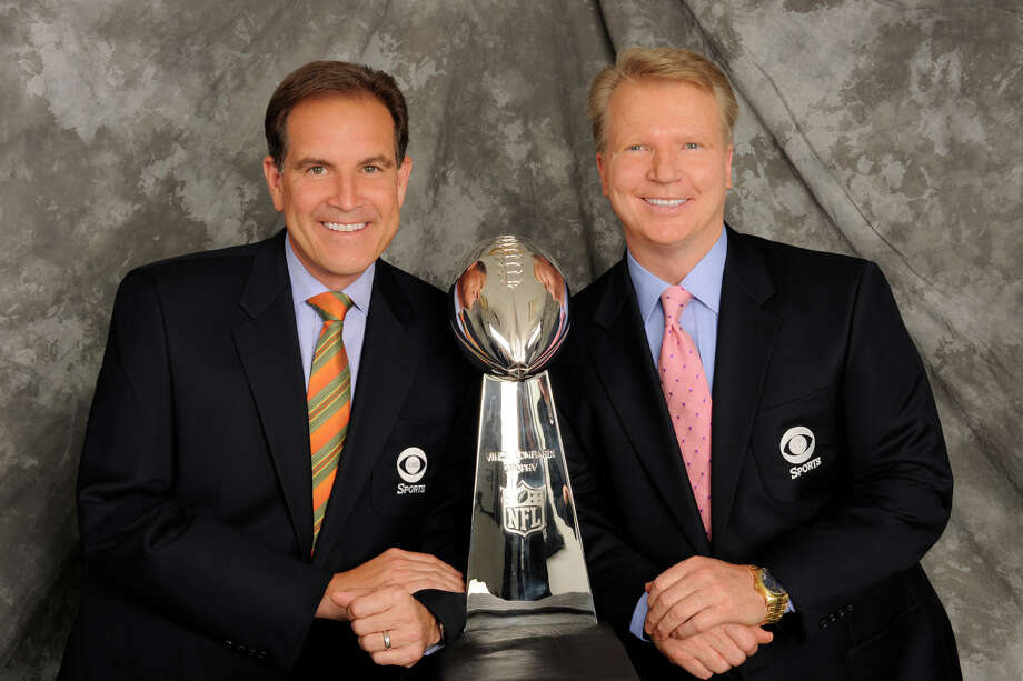 NFL 2012 Super Bowl Gallery    PICTURED:  left  Jim Nantz lead CBS NFL play-by play announcer and Phil Simms CBS NFL lead analyst.     Photo: John P. Filo/CBS A'A©2012 CBS Broadcasting Inc. All Rights Reserved. Photo: John Paul Filo / Ã?©2012 CBS Broadcasting Inc. All Rights Reserved.