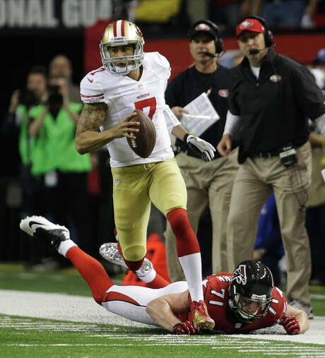 "College rivals recalled thinking Colin Kaepernick had a ""goofy"" running style, but it's helped carry the San Francisco quarterback all the way to the Super Bowl. Photo: Dave Martin, STF / AP"