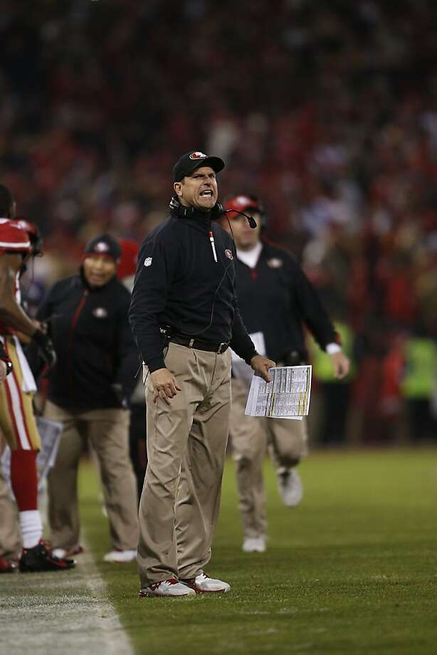 Niners head coach Jim Harbaugh shows an intense look during a playoff game similar to one he flashed at a newspaper editor in 2010. Photo: Stephen Lam, Special To The Chronicle
