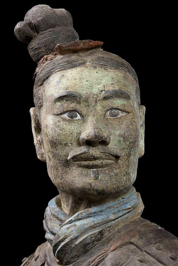 """Armored kneeling archer"" (detail), Qin Dynasty, is part of ""Terracotta Warriors: The First Emperor"" at the Asian Art Museum. Photo: Asian Art Museum"
