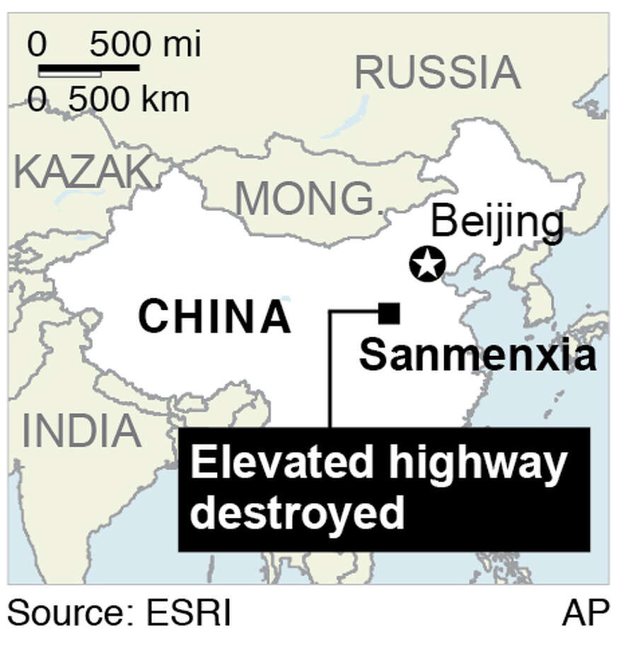 Map shows the city of Sanmenxia in Henan province where a truck carrying fireworks ahead of Chinese New Year celebrations exploded and destroyed part of an elevated highway; Photo: AP