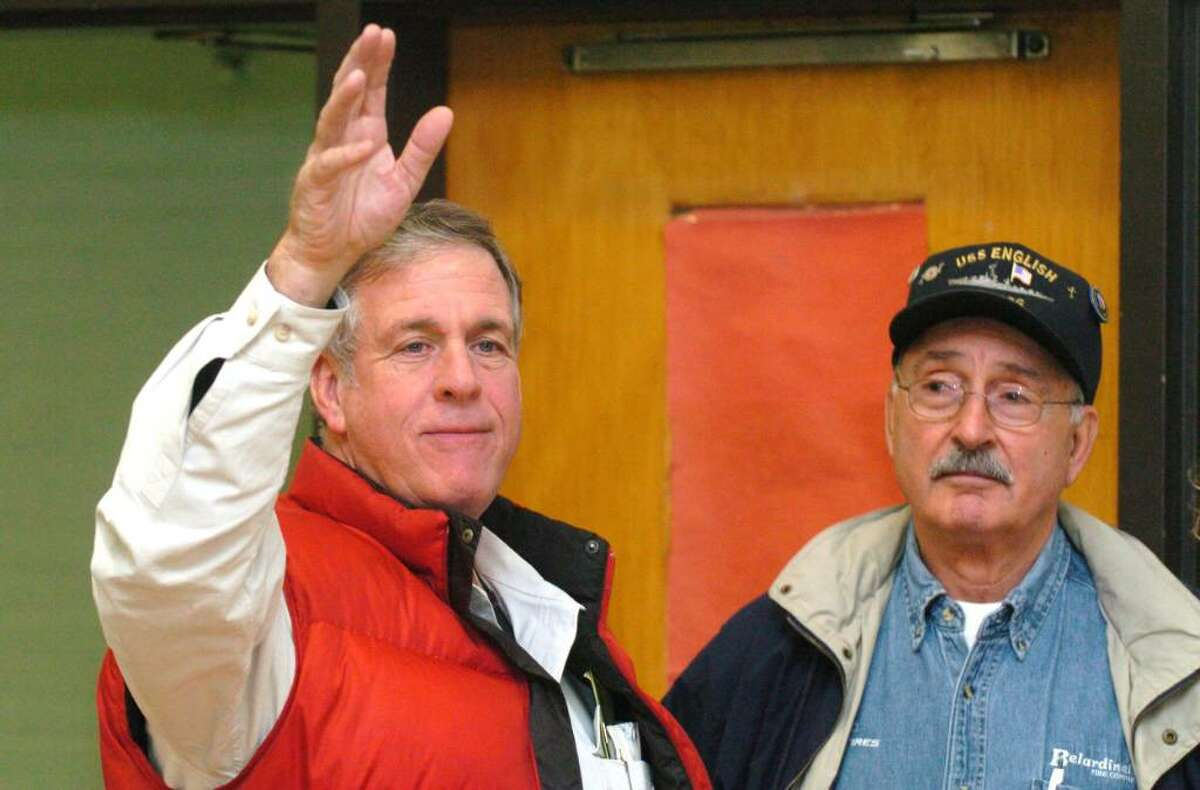 From left, Bob Burke and Tulio Belardinelli, at the Bethel Municipal Center in Bethel, on election night Tuesday, Nov. 3, 2009.