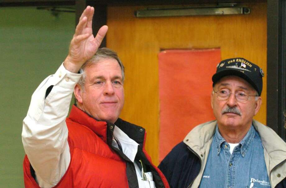 From left, Bob Burke and Tulio Belardinelli, at the Bethel Municipal Center in Bethel, on election night Tuesday, Nov. 3, 2009. Photo: Chris Ware / The News-Times