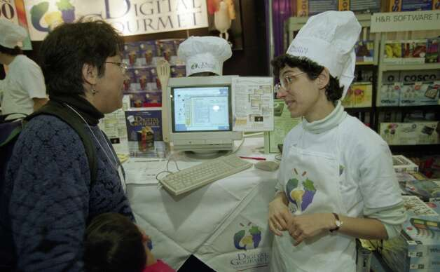 The Digital Gourmet had a booth at Macworld 1996. You have to graduate from Digital Culinary School to wear the hat. Photo: Michael Macor, The Chronicle / SFC