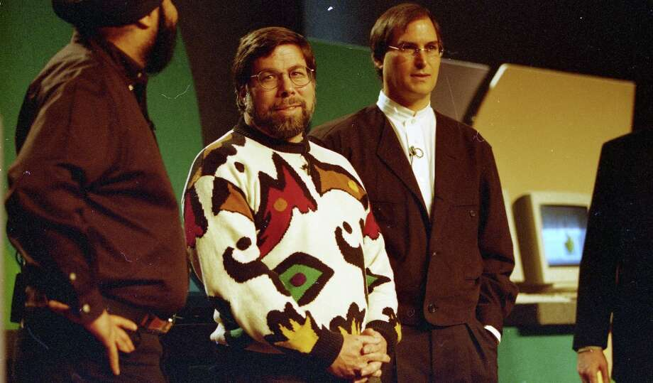 A rare photo of Steve Wozniak (in the loud sweater) and Steve Jobs together, at Macworld on Jan. 7, 1997. Photo: Frederic Larson, The Chronicle / SFC