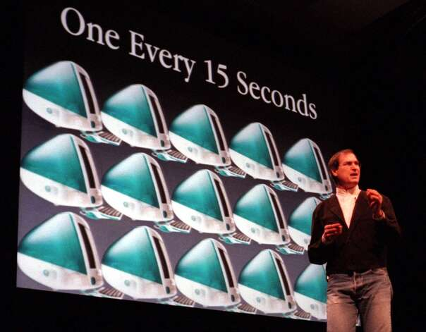 In 1999, Steve Jobs boasted about selling an iMac every 15 seconds since its 1998 debut. And one every -10 seconds at Macworld. Photo: Ben Margot, AP / AP