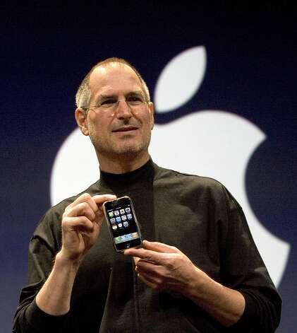 The zenith: Steve Jobs announces the first iPhone at Macworld on Jan. 9, 2007. It was released in June 2007. Photo: David Paul Morris, Getty Images / Getty Images North America