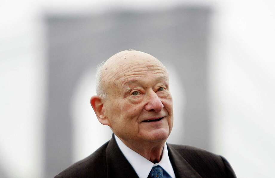 FILE - In this March 23, 2010 file photo, former New York Mayor Ed Koch speaks during a publicity event in New York. A spokesman says Ed Koch, outspoken 3-term mayor who became brash symbol of NYC, died Friday morning Feb. 1, 2013 at age 88. Photo: AP