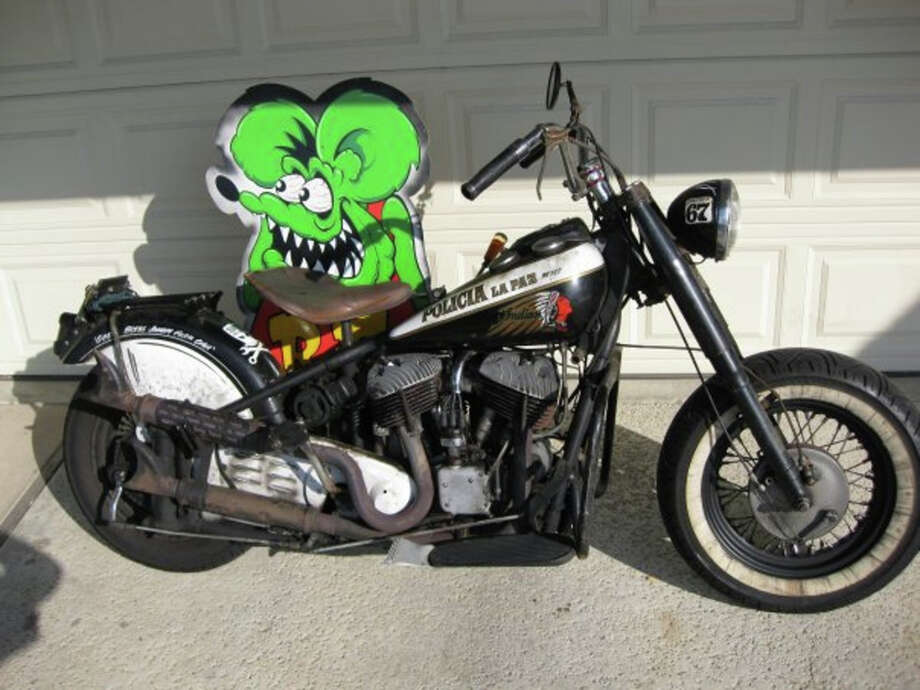 John Parker owns a 1948 Indian Chief motorcycle with an 80-inch stroker flathead and a 1951 Ford Shoebox.
