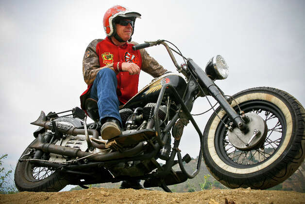 John Parker and his 1948 Indian Chief motorcycle, which has an 80-inch stroker flathead. Photo: Photo Courtesy Of Stefan Berg