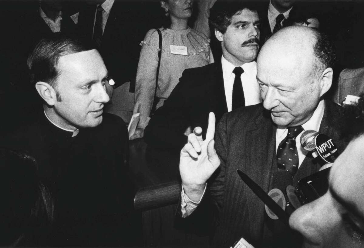 In the March 4, 1982 Albany Roman Catholic Bishop Howard Hubbard listens to a pont made by New York City Mayor Edward Koch, during an event in Albany. (Times Union Archive Photo by Skip Dickstein)