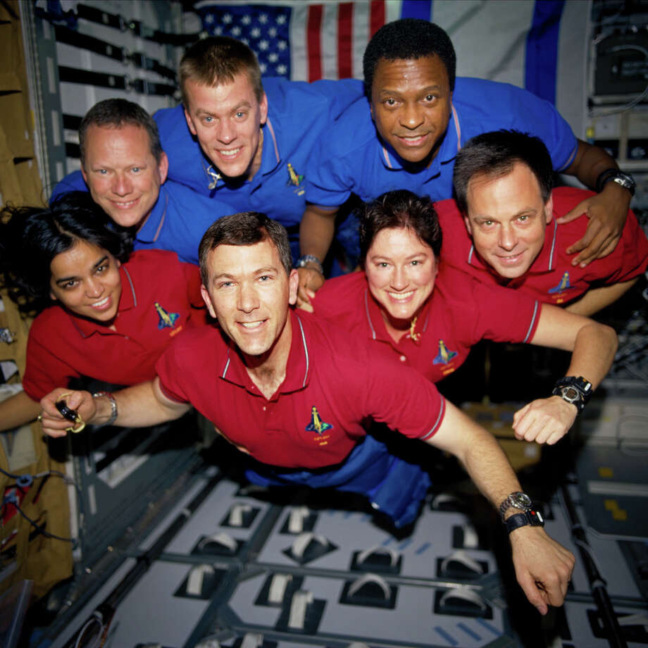 **STILL PHOTO VERSION OF DN502, OF JUNE 24, 2003, WHICH WAS AN  IMAGE FROM VIDEO** The space shuttle Columbia crew members strike a flying pose for their traditional in-flight crew portrait in the research lab aboard the shuttle in this photo from January 2003 released by NASA on Tuesday, June 24, 2003. Clockwise from left are Kalpana Chawla, David M. Brown, William C. McCool, Michael P. Anderson, Ilan Ramon, Laurel B. Clark, and Rick D. Husband. All seven crew member were lost on February 1, 2003, when the Columbia broke up over North Texas during re-entry. This picture was developed from a roll of unprocessed film recovered by searchers from the shuttle's debris. (AP Photo/NASA)  HOUCHRON CAPTION  (07/25/2003):  Columbia crew members strike a flying pose for their traditional in-flight portrait in the research lab aboard the shuttle in this photo from January released by NASA in June. Clockwise from left are Kalpana Chawla, David M. Brown, William C. McCool, Michael P. Anderson, Ilan Ramon, Laurel B. Clark and Rick D. Husband. All seven crew members died on Feb. 1 when the Columbia broke up over North Texas during re-entry. This picture was developed from a roll of unprocessed film recovered by searchers from the shuttle's debris. HOUCHRON CAPTION  (08/27/2003):  Members of Columbia's crew smile for a floating portrait while in orbit. All seven died when the shuttle broke up Feb. 1. Clockwise from left: Kalpana Chawla, David Brown, William McCool, Michael Anderson, Ilan Ramon, Laurel Clark and Rick Husband.  HOUCHRON CAPTION (04/20/2004): The diary of Ilan Ramon, Israel's first astronaut, was meticulously pieced together to produce Columbia: The Tragic Loss, a poignant look at the shuttle crew members on their fateful mission. The documentary plays WorldFest Houston at 5 p.m. today at the AMC Meyer Park 16 Theatre. The astronauts, pictured during their mission: front row, from left, Kalpana Chawla, Rick Husband, Laurel Clark, Ramon; back row, from left, David Brow