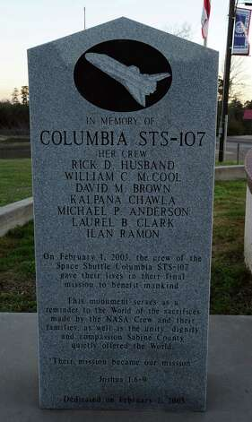 The Hemphill memorial monument to the Columbia space shuttle that broke apart over the area Febuary 1, 2003. Photo taken: Randy Edwards/The Enterprise Photo: Randy Edwards