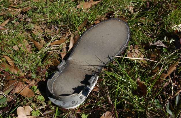 A sole of a shoe believed to be from one of the astronauts of the space shuttle Columbia found near Bronson Tx.  Tom Eckert/photo Photo: Tom Eckert, Staff Photographer / Beaumont