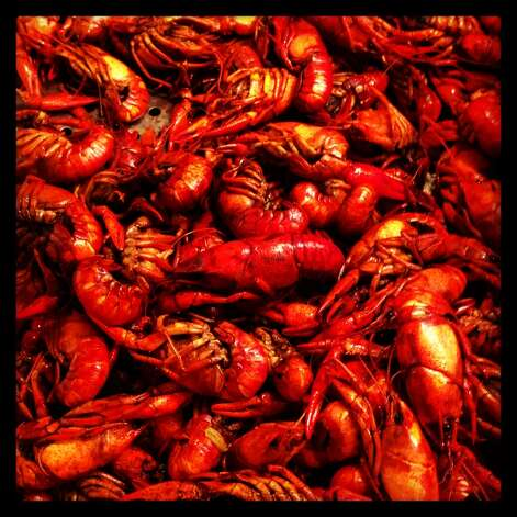 It wouldn't be New Orleans without crawfish, a signature dish of the city. This spicy batch was at a buffet in New Orleans.