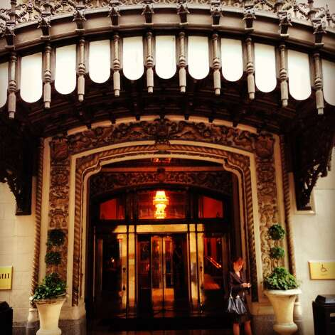 The Roosevelt Hotel in the French Quarter presents an elegant entrance to the street.