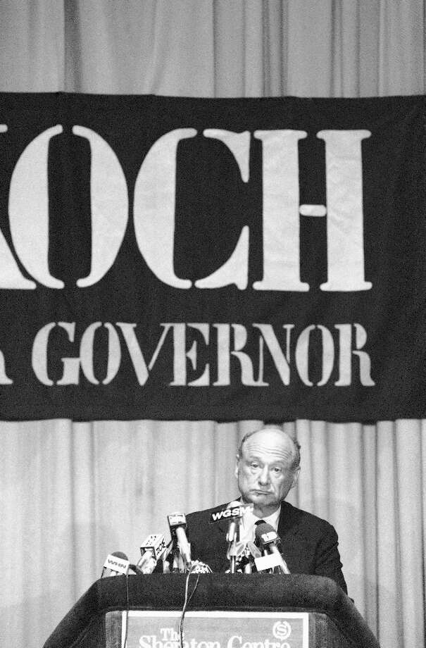 FILE - In this Sept. 24, 1982, file photo, New York Mayor Ed Koch makes his concession speech after losing the Democratic gubernatorial primary election to New York Lt. Gov. Mario Cuomo in New York. Koch, the combative politician who rescued the city from near-financial ruin during three City Hall terms, has died at age 88. Spokesman George Arzt says Koch died Friday morning Feb. 1, 2013 of congestive heart failure. Photo: Ray Stubblebine, AP / AP