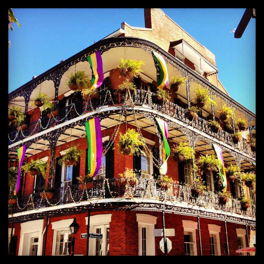 The colorful balconies of the French Quarter, festooned for Mardis Gras, which was paused for the Super Bowl.