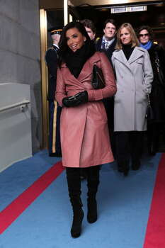 Actress Eva Longoria said this was one of her favorite days of all time when, wearing a smashing pink coat, she stood on the inaugural platform and watched President Obama get sworn in. Photo: Win McNamee, Getty Images / 2013 Getty Images