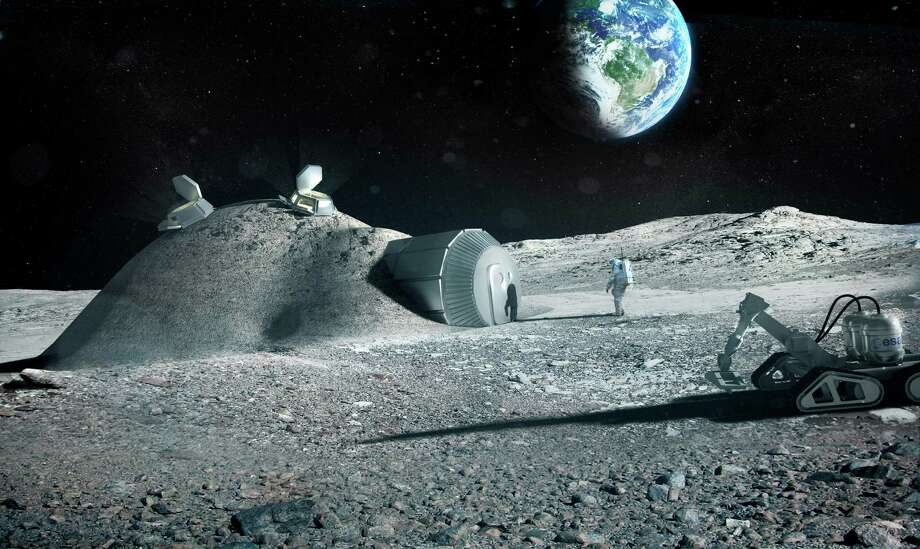 A depiction of a lunar base made with 3D printing. Photo: Foster+Partners/European Space Agency
