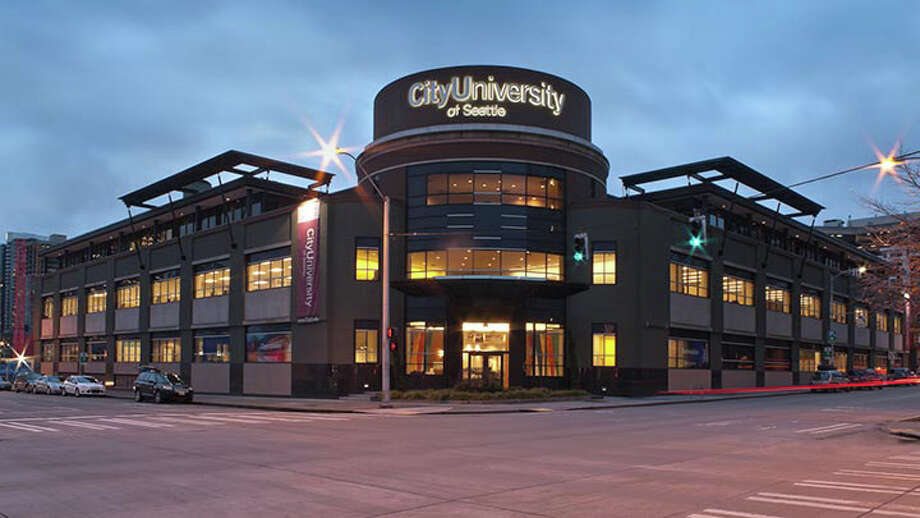 Here's a recent picture of the City University headquarters at Sixth Avenue and Wall Street. The building was completed in late 1948 as the home of the Seattle Post-Intelligencer. City University of Seattle, which was ranked among the top 50 online bachelor's degree programs by U.S. News and World Report, had its grand opening there Jan. 25, 2013. Photo: Courtesy City University
