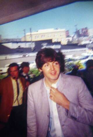 Paul McCartney arrives at the Edgewater Hotel, Aug.21, 1964. The photo is kept in a scrapbook made by Ann Wright, wife of former Edgewater Hotel manager Don Wright. (Photo courtesy Ann Wright)