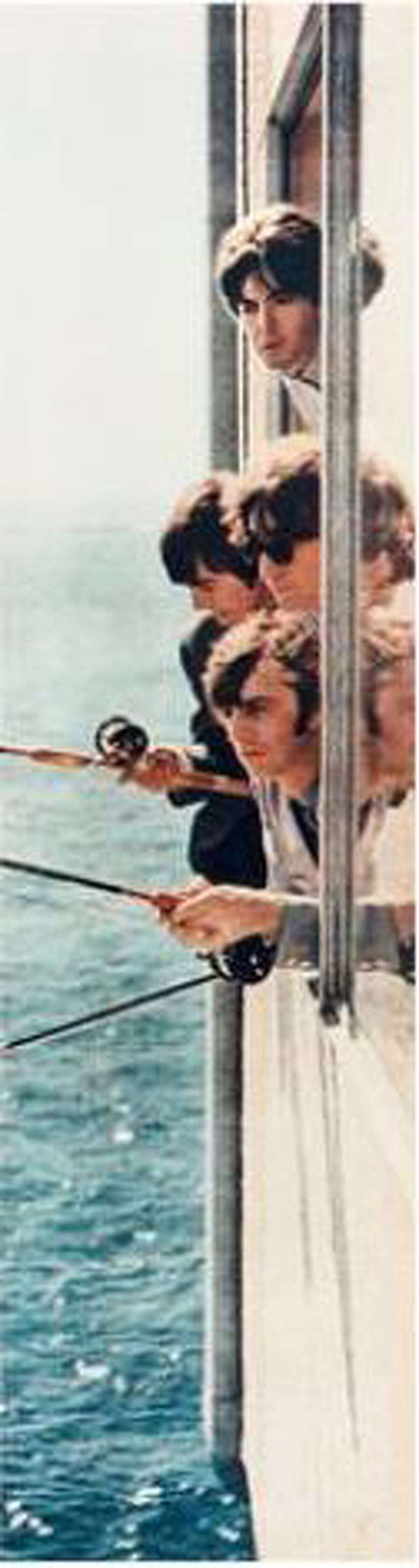 The Beatles fishing from a window in suite 272 at the Edgewater Hotel, Aug. 21, 1964. (Courtesy Edgewater Inn)